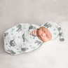 Blue Jungle Sloth Boy or Girl Cocoon and Beanie Hat Set Jersey Stretch Knit Sleeping Bag for Infant Newborn Nursery Sleep Wrap Sack by Sweet Jojo Designs - Turquoise, Grey and Green Botanical Rainforest Leaf
