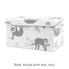 Blue Jungle Sloth Boy or Girl Small Fabric Toy Bin Storage Box Chest For Baby Nursery or Kids Room by Sweet Jojo Designs - Turquoise, Grey and Green Tropical Botanical Rainforest