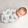 Blue Jungle Sloth Boy or Girl Swaddle Blanket Jersey Stretch Knit for Newborn or Infant Receiving Security by Sweet Jojo Designs - Turquoise, Grey and Green Botanical Rainforest Leaf
