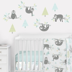 Blue Jungle Sloth Large Peel and Stick Wall Decal Stickers Art Nursery Decor Mural by Sweet Jojo Designs - Set of 4 Sheets - Aqua, Turquoise, Grey and Green Tropical Botanical Rainforest Trees