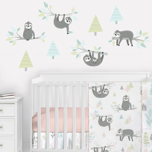 Blue Jungle Sloth Large Peel and Stick Wall Decal Stickers Art Nursery Decor Mural by Sweet Jojo Designs - Set of 4 Sheets - Aqua, Turquoise, Grey and Green Tropical Botanical Rainforest Trees for the Pink Collection - Click to enlarge