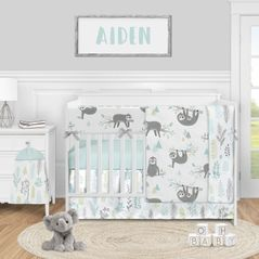 Blue Jungle Sloth Leaf Baby Boy or Girl Nursery Crib Bedding Set by Sweet Jojo Designs - 5 pieces - Turquoise Grey and GreenTropical Botanical Rainforest Animal
