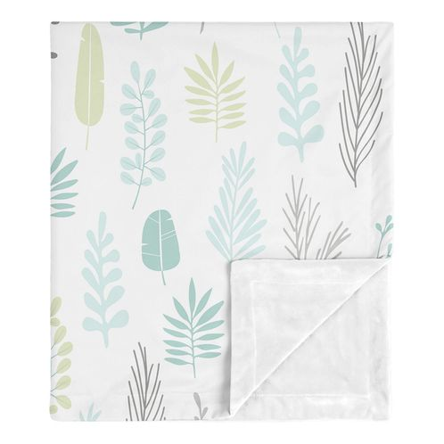Blue Leaf Baby Boy or Girl Receiving Security Swaddle Blanket for Newborn or Toddler Nursery Car Seat Stroller Soft Minky by Sweet Jojo Designs - Turquoise, Grey and Green Tropical Botanical Rainforest Jungle Sloth - Click to enlarge