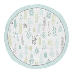 Blue Leaf Boy or Girl Baby Playmat Tummy Time Infant Play Mat by Sweet Jojo Designs - Turquoise, Grey and Green Tropical Botanical Rainforest Jungle Sloth