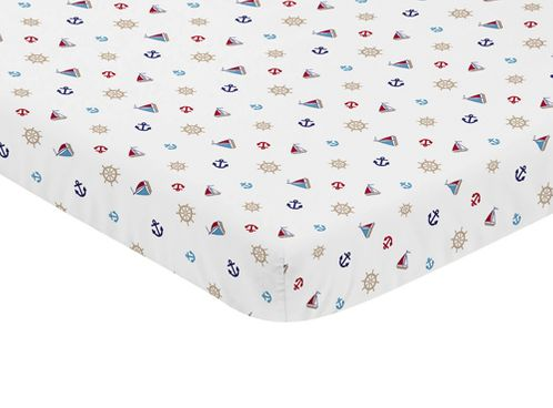 Blue Red and White Nautical Boat Baby Fitted Mini Portable Crib Sheet by Sweet Jojo Designs - Click to enlarge