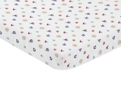 Blue Red and White Nautical Boat Baby Fitted Mini Portable Crib Sheet by Sweet Jojo Designs