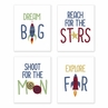 Blue, Red, Green and Yellow Rocket Ship Wall Art Prints Room Decor for Baby, Nursery, and Kids for Space Galaxy Collection by Sweet Jojo Designs - Set of 4 - Stars and Moon