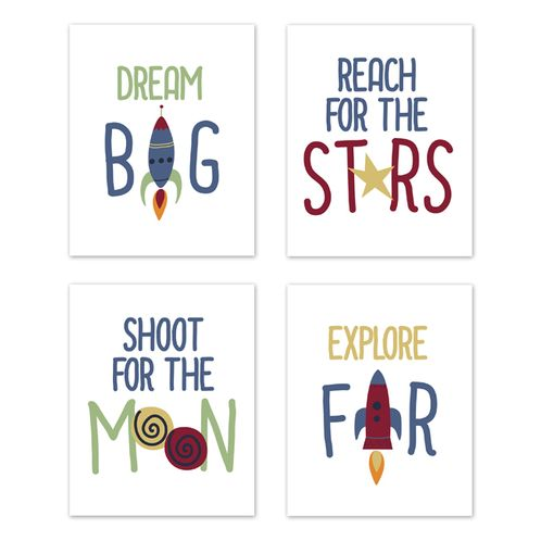 Blue, Red, Green and Yellow Rocket Ship Wall Art Prints Room Decor for Baby, Nursery, and Kids for Space Galaxy Collection by Sweet Jojo Designs - Set of 4 - Stars and Moon - Click to enlarge