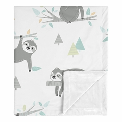 Blue Sloth Baby Boy Girl Receiving Security Swaddle Blanket for Newborn or Toddler Nursery Car Seat Stroller Soft Minky by Sweet Jojo Designs - Turquoise, Grey and Green Jungle Leaf Botanical Rainforest