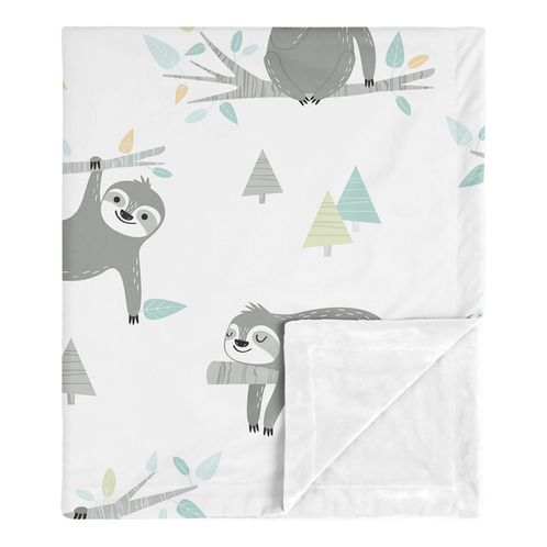 Blue Sloth Baby Boy Girl Receiving Security Swaddle Blanket for Newborn or Toddler Nursery Car Seat Stroller Soft Minky by Sweet Jojo Designs - Turquoise, Grey and Green Jungle Leaf Botanical Rainforest - Click to enlarge