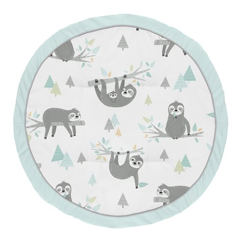 Blue Sloth Boy Girl Baby Playmat Tummy Time Infant Play Mat by Sweet Jojo Designs - Turquoise, Grey and Green Jungle Leaf Botanical Rainforest - Click to enlarge