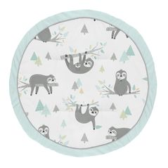 Blue Sloth Boy Girl Baby Playmat Tummy Time Infant Play Mat by Sweet Jojo Designs - Turquoise, Grey and Green Jungle Leaf Botanical Rainforest