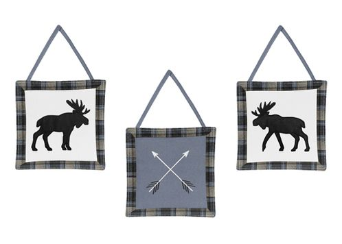 Blue, Tan and Black Woodland Plaid and Arrow Wall Hanging Decor for Rustic Patch Collection by Sweet Jojo Designs - Set of 3 - Click to enlarge