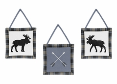 Blue, Tan and Black Woodland Plaid and Arrow Wall Hanging Decor for Rustic Patch Collection by Sweet Jojo Designs - Set of 3