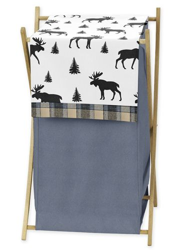 Blue, Tan and Black Woodland Plaid and Moose Baby Kid Clothes Laundry Hamper for Rustic Patch Collection by Sweet Jojo Designs - Click to enlarge
