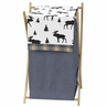 Blue, Tan and Black Woodland Plaid and Moose Baby Kid Clothes Laundry Hamper for Rustic Patch Collection by Sweet Jojo Designs