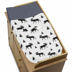 Blue, Tan and Black Woodland Plaid and Moose Changing Pad Cover for Rustic Patch Collection by Sweet Jojo Designs