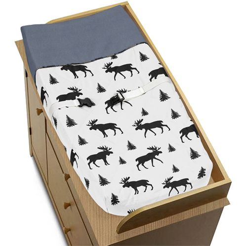 Blue, Tan and Black Woodland Plaid and Moose Changing Pad Cover for Rustic Patch Collection by Sweet Jojo Designs - Click to enlarge