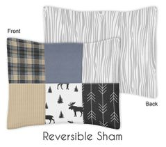 Blue, Tan, Grey and Black Woodland Moose and Arrow Standard Pillow Sham for Rustic Patch Collection by Sweet Jojo Designs