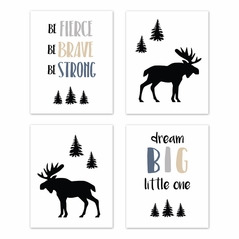 Blue, Tan, Grey and Black Woodland Moose Wall Art Prints Room Decor for Baby, Nursery, and Kids for Rustic Patch Collection by Sweet Jojo Designs - Set of 4 - Dream Big Little One