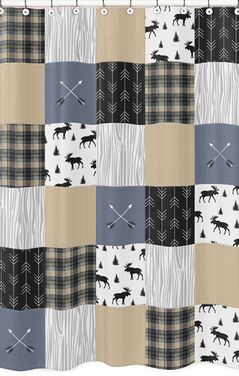 Blue, Tan, Grey and Black Woodland Plaid and Arrow Bathroom Fabric Bath Shower Curtain for Rustic Patch Collection by Sweet Jojo Designs