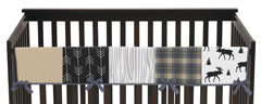 Blue, Tan, Grey and Black Woodland Plaid and Arrow Long Front Crib Rail Guard Baby Teething Cover Protector Wrap for Rustic Patch Collection by Sweet Jojo Designs