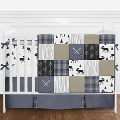 Blue, Tan Grey and Black Woodland Plaid and Arrow Rustic Patch Baby Boy Crib Bedding Set with Bumper by Sweet Jojo Designs - 9 pieces - Flannel Moose Gray