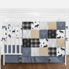 Blue, Tan, Grey and Black Woodland Plaid and Arrow Rustic Patch Baby Boy Nursery Crib Bedding Set with Bumper by Sweet Jojo Designs - 9 pieces