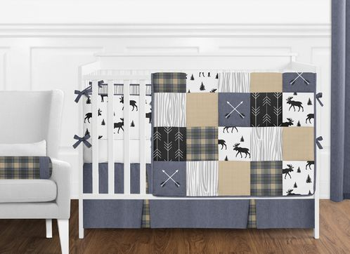 Blue, Tan, Grey and Black Woodland Plaid and Arrow Rustic Patch Baby Boy Nursery Crib Bedding Set with Bumper by Sweet Jojo Designs - 9 pieces - Click to enlarge