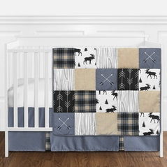 Blue, Tan, Grey and Black Woodland Plaid and Arrow Rustic Patch Baby Boy Nursery Crib Bedding Set without Bumper by Sweet Jojo Designs - 11 pieces