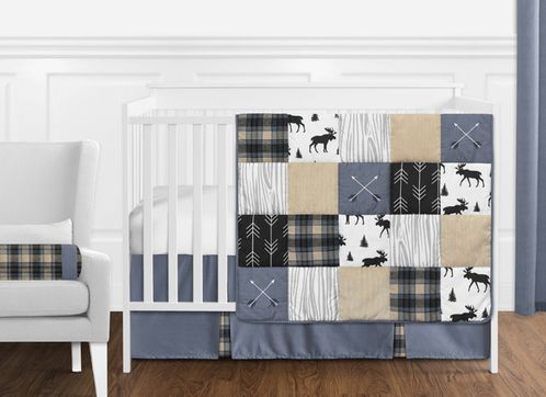 Blue, Tan, Grey and Black Woodland Plaid and Arrow Rustic Patch Baby Boy Nursery Crib Bedding Set without Bumper by Sweet Jojo Designs - 11 pieces - Click to enlarge