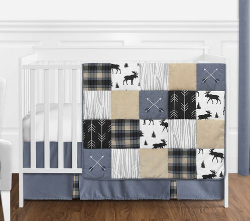 Blue, Tan, Grey and Black Woodland Plaid and Arrow Rustic Patch Baby Boy Nursery Crib Bedding Set without Bumper by Sweet Jojo Designs - 4 pieces - Click to enlarge