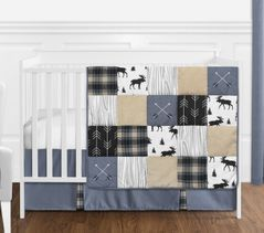 Blue, Tan, Grey and Black Woodland Plaid and Arrow Rustic Patch Baby Boy Nursery Crib Bedding Set without Bumper by Sweet Jojo Designs - 4 pieces
