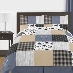 Blue, Tan, Grey and Black Woodland Plaid and Arrow Rustic Patch Boy Full / Queen Teen Childrens Bedding Comforter Set by Sweet Jojo Designs - 3 pieces