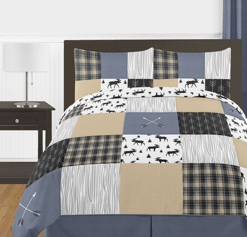 Blue, Tan, Grey and Black Woodland Plaid and Arrow Rustic Patch Boy Full / Queen Teen Childrens Bedding Comforter Set by Sweet Jojo Designs - 3 pieces - Click to enlarge