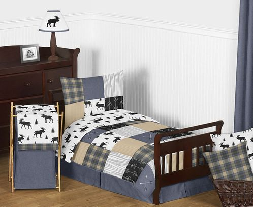 Blue, Tan, Grey and Black Woodland Plaid and Arrow Rustic Patch Boy Toddler Kid Childrens Bedding Set by Sweet Jojo Designs - 5 pieces Comforter, Sham and Sheets - Click to enlarge