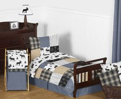 Blue, Tan, Grey and Black Woodland Plaid and Arrow Rustic Patch Boy Toddler Kid Childrens Bedding Set by Sweet Jojo Designs - 5 pieces Comforter, Sham and Sheets