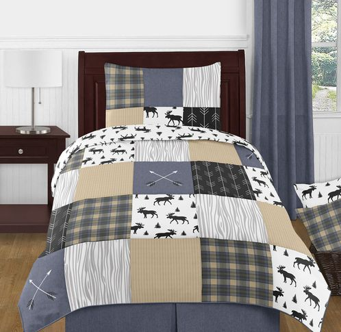 Blue, Tan, Grey and Black Woodland Plaid and Arrow Rustic Patch Boy Twin Kid Childrens Bedding Comforter Set by Sweet Jojo Designs - 4 pieces - Click to enlarge