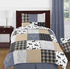 Blue, Tan, Grey and Black Woodland Plaid and Arrow Rustic Patch Boy Twin Kid Childrens Bedding Comforter Set by Sweet Jojo Designs - 4 pieces