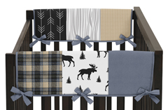 Blue, Tan, Grey and Black Woodland Plaid and Arrow Side Crib Rail Guards Baby Teething Cover Protector Wrap for Rustic Patch Collection by Sweet Jojo Designs - Set of 2