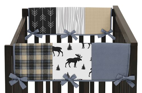 Blue, Tan, Grey and Black Woodland Plaid and Arrow Side Crib Rail Guards Baby Teething Cover Protector Wrap for Rustic Patch Collection by Sweet Jojo Designs - Set of 2 - Click to enlarge