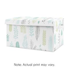 Blue Tropical Leaf Boy or Girl Small Fabric Toy Bin Storage Box Chest For Baby Nursery or Kids Room by Sweet Jojo Designs - for the Turquoise, Grey and Green Botanical Rainforest Jungle Sloth Collection