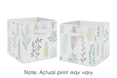 Blue Tropical Leaf Foldable Fabric Storage Cube Bins Boxes Organizer Toys Kids Baby Childrens by Sweet Jojo Designs - Set of 2 - for the Turquoise, Grey and Green Botanical Rainforest Jungle Sloth Collection