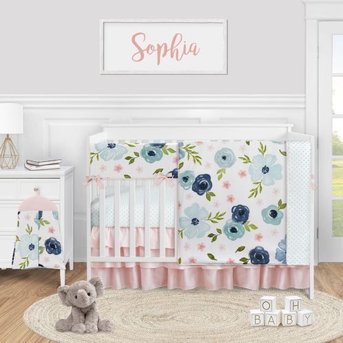 Blue Watercolor Floral Baby Girl Nursery Crib Bedding Set by Sweet Jojo Designs - 5 pieces - Blush Pink Navy Green and White Shabby Chic Rose Flower Polka Dot - Click to enlarge