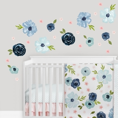 Blue Watercolor Floral Large Peel and Stick Wall Decal Stickers Art Nursery Decor Mural by Sweet Jojo Designs - Set of 4 Sheets - Blush Pink Navy Green and White Shabby Chic Rose Flower Farmhouse Boho Bohemian