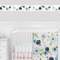 Blue Watercolor Floral Wallpaper Wall Border Mural by Sweet Jojo Designs - Blush Pink Navy Green and White Shabby Chic Rose Flower Farmhouse Boho Bohemian