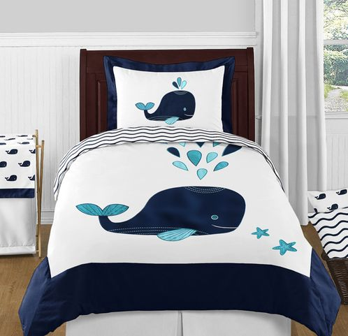 Blue Whale 4pc Twin Boy or Girl Bedding Set by Sweet Jojo Designs - Click to enlarge