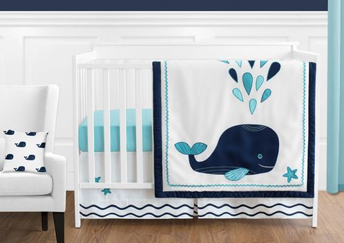 Blue Whale Baby Boy or Girl Bedding - 11pc Crib Set by Sweet Jojo Designs - Click to enlarge