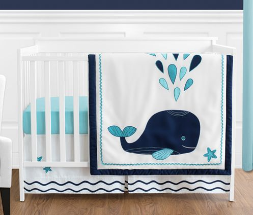 Blue Whale Baby Boy or Girl Bedding - 4pc Crib Set by Sweet Jojo Designs - Click to enlarge