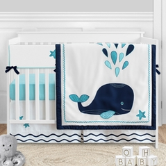 Blue Whale Baby Boy or Girl Nursery Crib Bedding Set by Sweet Jojo Designs - 5 pieces - Navy Aqua and White Ocean